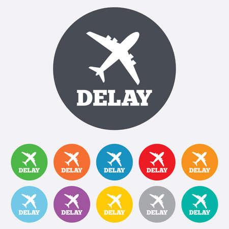 delay: Delayed flight sign icon. Airport delay symbol.