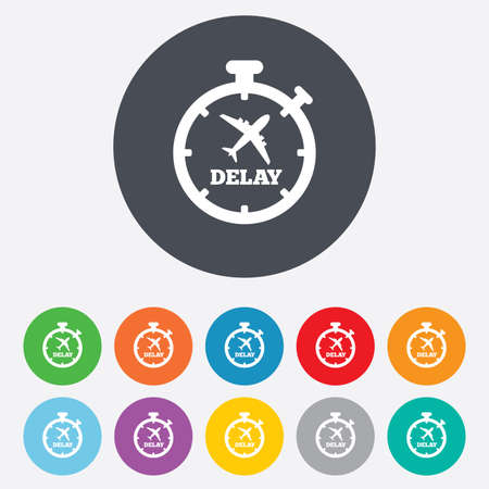the delayed: Delayed flight sign icon. Airport delay symbol.