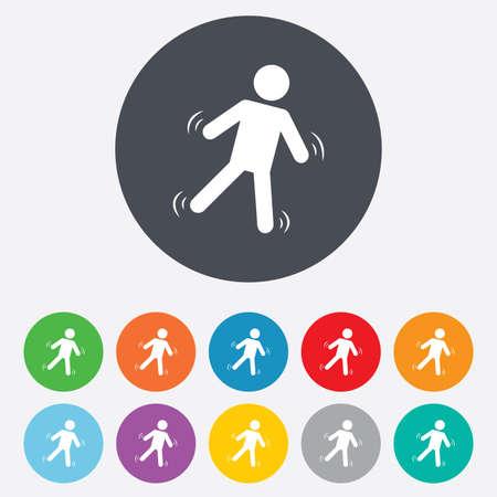 Man falls sign icon. Falling down human symbol. Vector