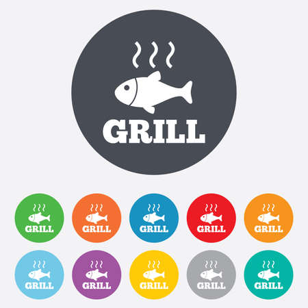 Fish grill hot icon. Cook or fry fish symbol. Vector