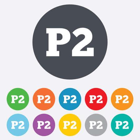 second floor: Parking second floor icon. Car parking P2 symbol Illustration