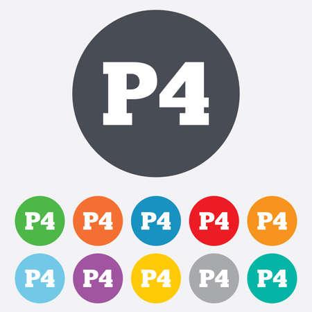 Parking fourth floor icon. Car parking P4 symbol