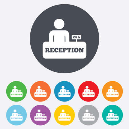 reception hotel: Reception sign icon. Hotel registration table. Illustration