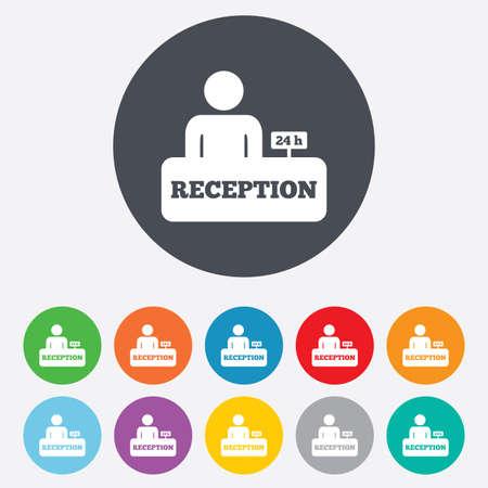 registration mark: Reception sign icon. Hotel registration table. Illustration