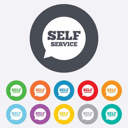 client service: Self service sign icon. Maintenance symbol.