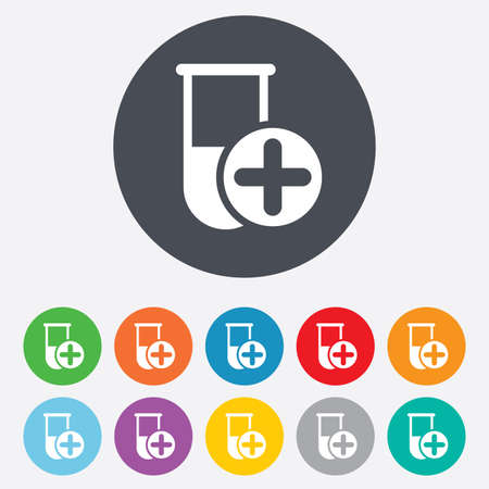 Medical test tube sign icon. Lab equipment. Vector