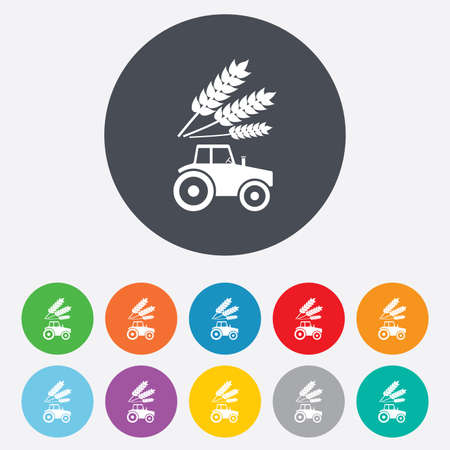 tractor sign: Tractor sign icon. Agricultural industry symbol.