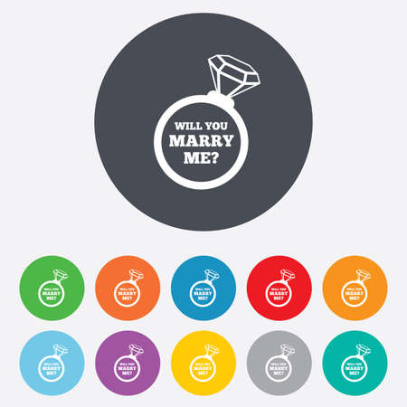 Marry me ring sign icon. Engagement symbol. Vector