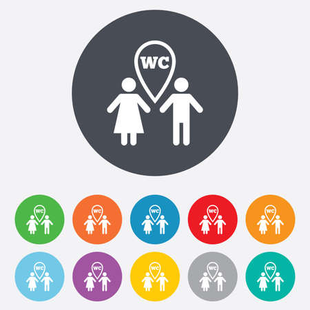 WC Toilet sign icon. Restroom symbol. Vector