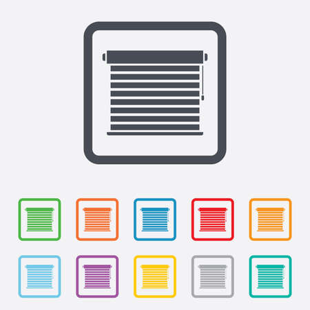 jalousie: Louvers sign icon. Window blinds or jalousie symbol. Round squares buttons with frame. Vector