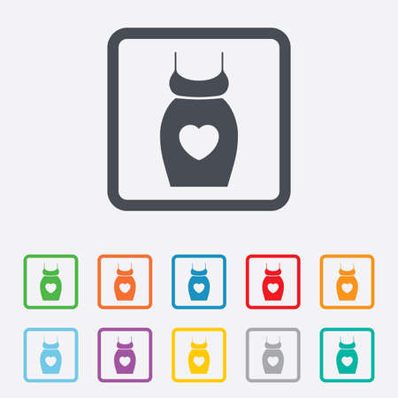 big breast: Pregnant woman dress sign icon. Maternity with heart clothing symbol Round squares buttons with frame. Vector