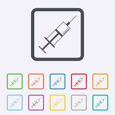 syringe inoculation: Syringe sign icon. Medicine symbol. Round squares buttons with frame. Vector