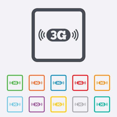 3g: Icono de se�al de 3G. Telecomunicaciones m�viles s�mbolo tecnolog�a. Cuadrados botones redondos con marco. Vector Vectores