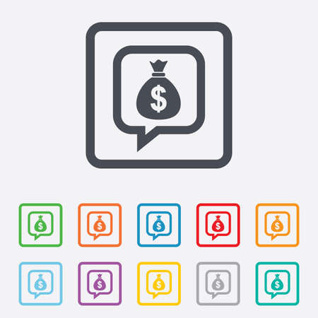 usd: Money bag sign icon. Dollar USD currency speech bubble symbol. Round squares buttons with frame. Vector