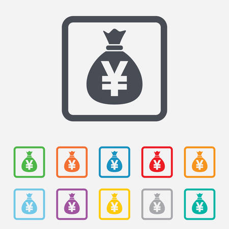 jpy: Money bag sign icon. Yen JPY currency symbol. Round squares buttons with frame. Vector