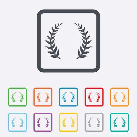 triumph: Laurel Wreath sign icon. Triumph symbol. Round squares buttons with frame. Vector Illustration