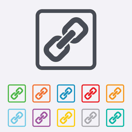 hyperlink: Link sign icon. Hyperlink chain symbol. Round squares buttons with frame. Vector