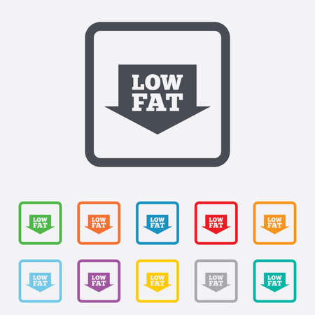 low fat: Low fat sign icon. Salt, sugar food symbol with arrow. Round squares buttons with frame. Vector