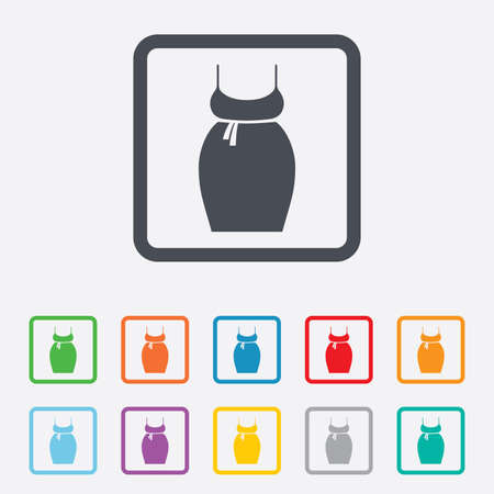 big breast: Pregnant woman dress sign icon. Maternity clothing symbol Round squares buttons with frame. Vector