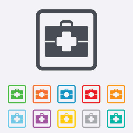 doctor symbol: Medical case sign icon. Doctor symbol. Round squares buttons with frame. Vector