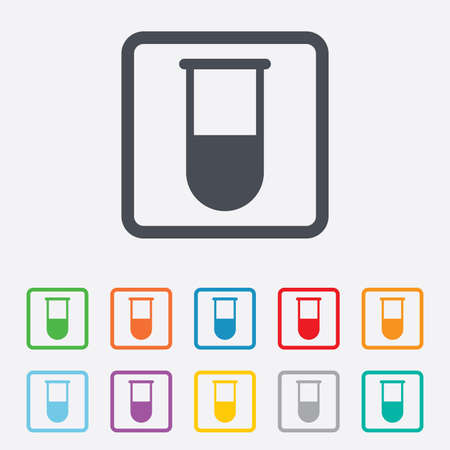 laboratory equipment: Medical test tube sign icon. Laboratory equipment symbol. Round squares buttons with frame. Vector