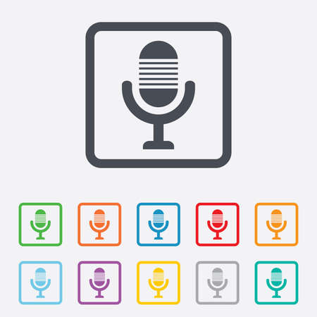 voices: Microphone icon. Speaker symbol. Live music sign. Round squares buttons with frame. Vector Illustration