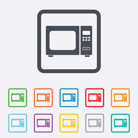 microwave stove: Microwave oven sign icon. Kitchen electric stove symbol. Round squares buttons with frame. Vector Illustration