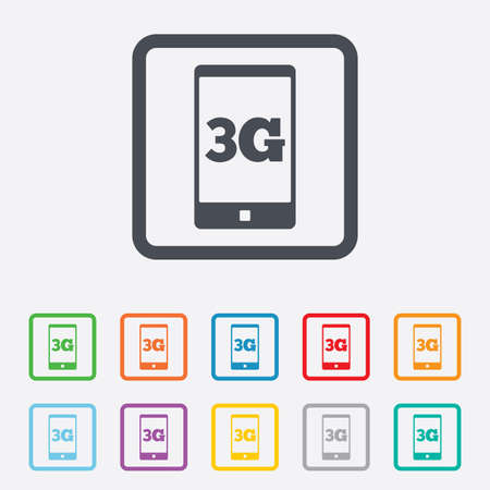 telecommunications technology: 3G sign icon. Mobile telecommunications technology symbol. Round squares buttons with frame. Vector
