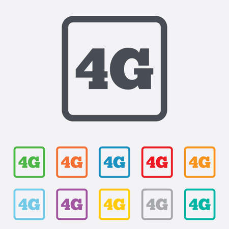 4G sign icon. Mobile telecommunications technology symbol. Round squares buttons with frame. Vector Vector