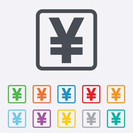 jpy: Yen sign icon. JPY currency symbol. Money label. Round squares buttons with frame. Vector