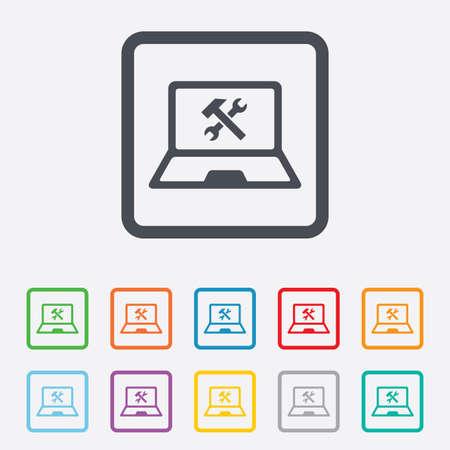 laptop repair: Laptop icono de signo de reparaci�n. Notebook s�mbolo servicio soluci�n. Cuadrados botones redondos con marco. Vector Vectores