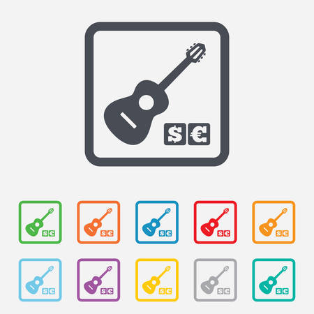 Acoustic guitar sign icon. Paid music symbol. Round squares buttons with frame. Vector Illustration