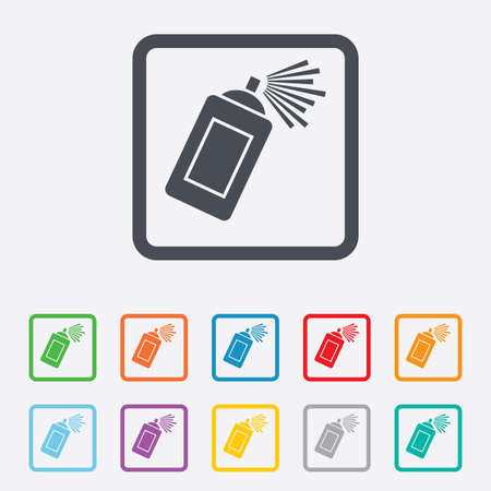 spray paint can: Graffiti spray can sign icon. Aerosol paint symbol. Round squares buttons with frame. Vector Illustration