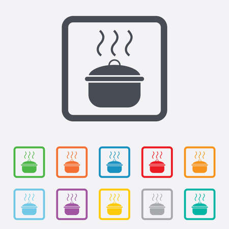 stew: Cooking pan sign icon. Boil or stew food symbol. Round squares buttons with frame. Vector