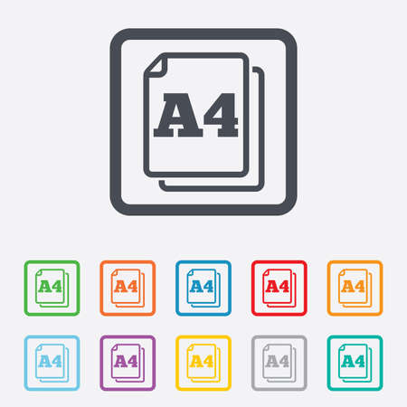 Paper size A4 standard icon. File document symbol. Round squares buttons with frame. Vector Vector