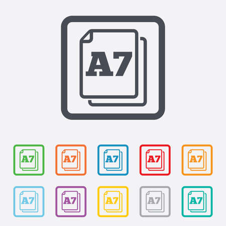 a7: Paper size A7 standard icon. File document symbol. Round squares buttons with frame. Vector