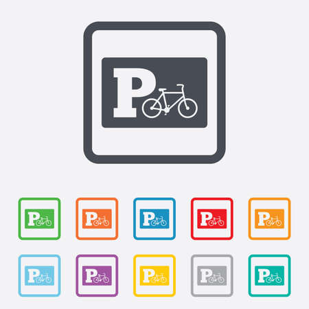 Parking sign icon. Bicycle parking symbol. Round squares buttons with frame. Vector