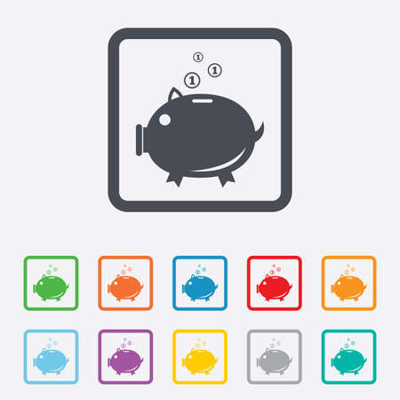thrift box: Piggy bank sign icon. Moneybox symbol. Round squares buttons with frame. Vector Illustration