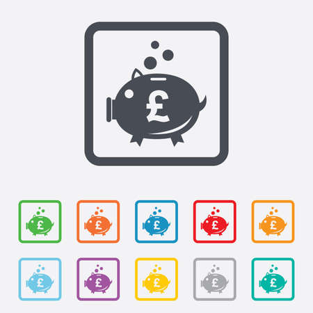 gbp: Piggy bank sign icon. Moneybox pound symbol. Round squares buttons with frame. Vector Illustration