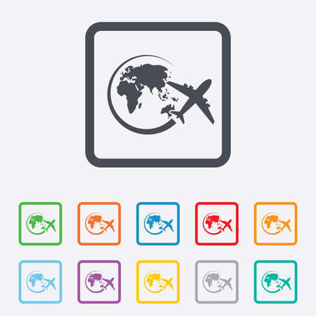 Airplane sign icon. Travel trip round the world symbol. Round squares buttons with frame. Vector Vector