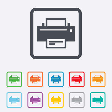 Print sign icon. Printing symbol. Print button. Round squares buttons with frame. Vector