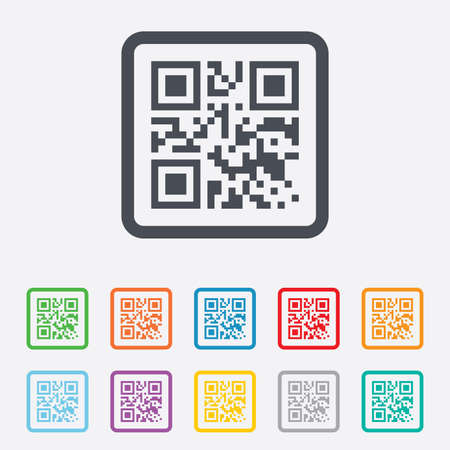 coded: Qr code sign icon. Scan code symbol. Coded word - success! Round squares buttons with frame. Vector