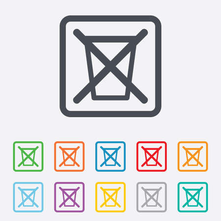 utilization: Do not throw in trash. Recycle bin sign icon. Round squares buttons with frame. Vector Illustration