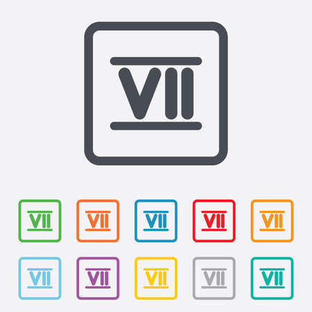 Roman numeral seven sign icon. Roman number seven symbol. Round squares buttons with frame. Vector Vector