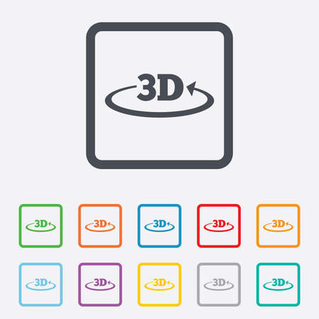 3D sign icon. 3D New technology symbol. Rotation arrow. Round squares buttons with frame. Vector Vector