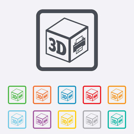 additive manufacturing: 3D Print sign icon. 3d cube Printing symbol. Additive manufacturing. Round squares buttons with frame. Vector Illustration