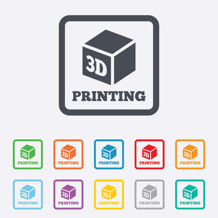 3D Print sign icon. 3d cube Printing symbol. Additive manufacturing. Round squares buttons with frame. Vector Vector