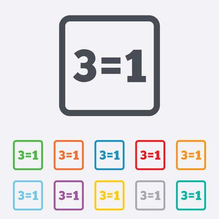 equals: Drei f�r eine Zeichen-Symbol. Nehmen Sie drei Lohn f�r einen Verkauf-Taste. 3 ist gleich 1. Runde Quadrate Buttons mit Rahmen. Vektor