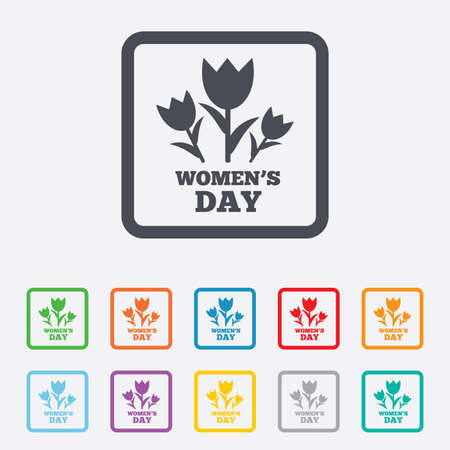8 March Womens Day sign icon. Flowers symbol. Round squares buttons with frame. Vector Vector
