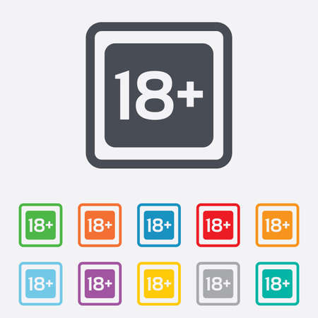 18 years old: 18 years old sign. Adults content only icon. Round squares buttons with frame. Vector Illustration